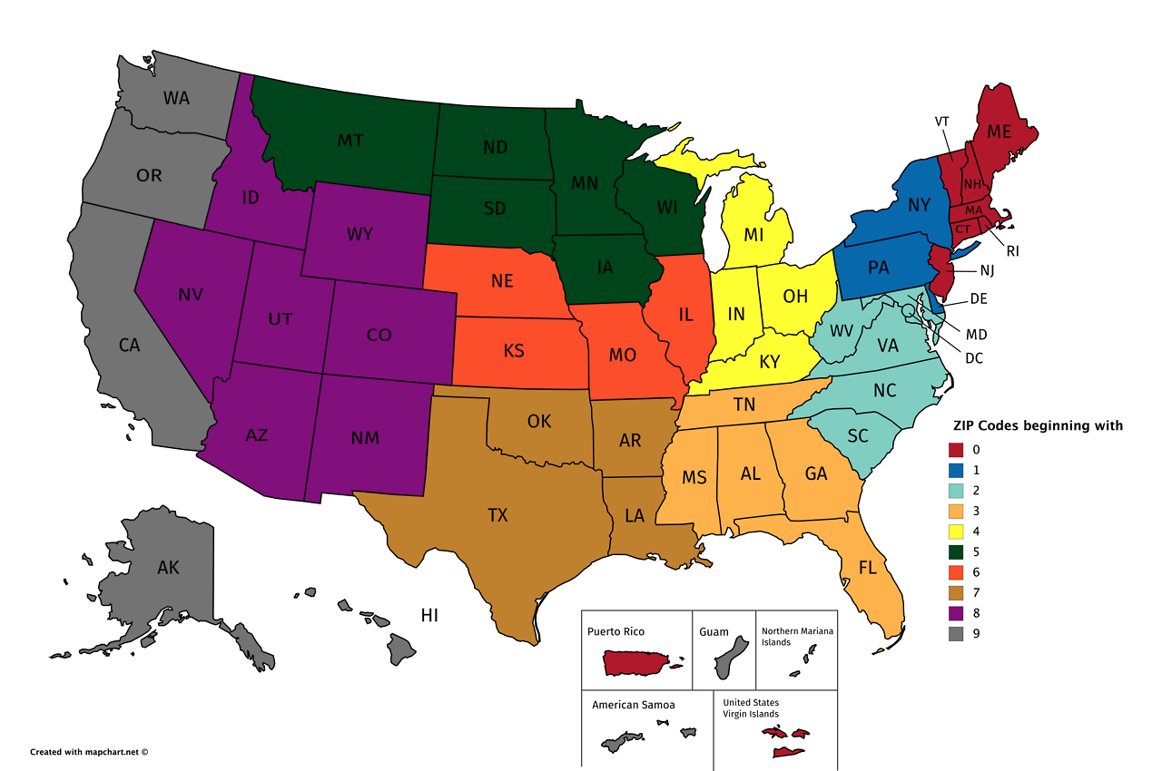 Zip Code Prefixes In The United States Maps On The Web