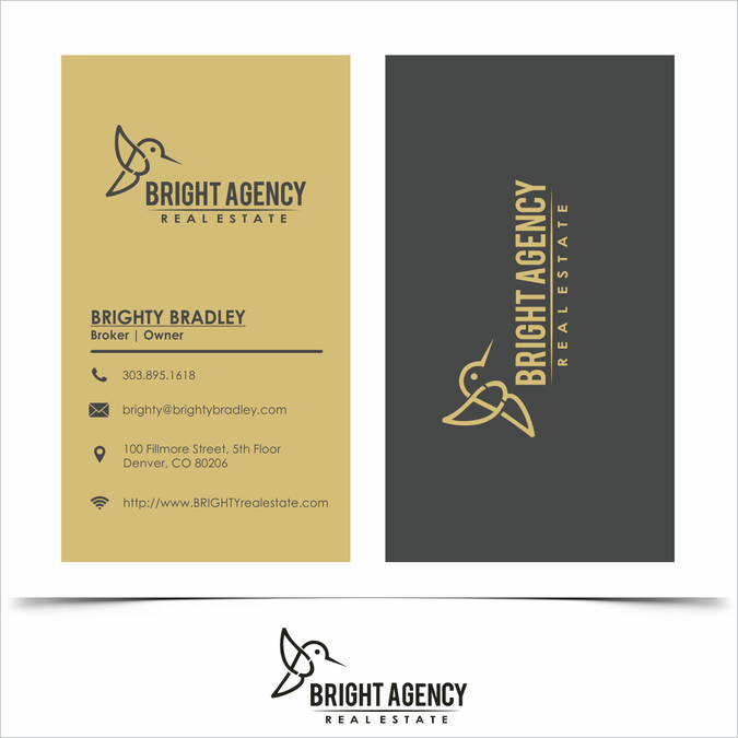 Create A New Logo For New Real Estate Firm Incorporating The Name Bright Agency Modern Business Cards Logo Modern Business Cards Design Modern Business Cards