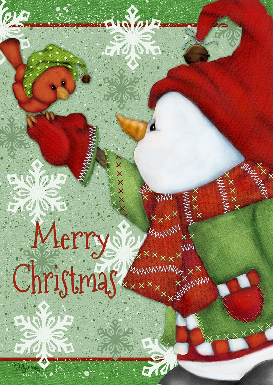 merry christmas snowman garden flag snowflakes primitive 12 5