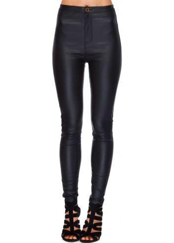 e1938240a21937 Designer Desirables Black PU Stretch Fit Skinny High Waisted Jeans ...