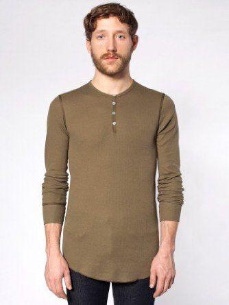 e0f59747 American Apparel thermal Henley long sleeve shirt - Army green. (Dexter's  kill shirt) (Around $24)