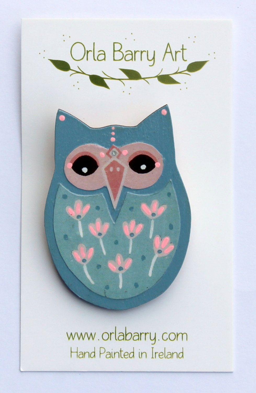 Grey owl brooch handmade in Ireland by OrlaBarry on Etsy