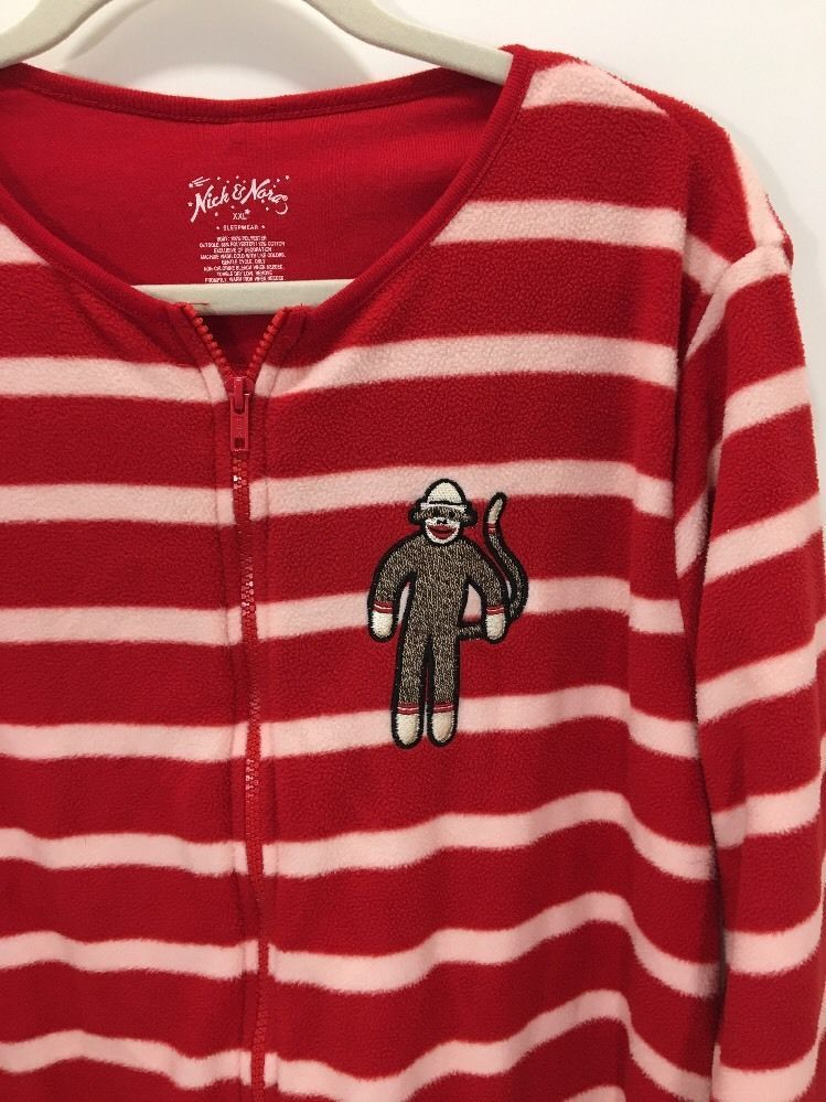 bd254cf38fca Nick   Nora Footed Pajamas Sock Monkey Fleece Red White Stripe ...