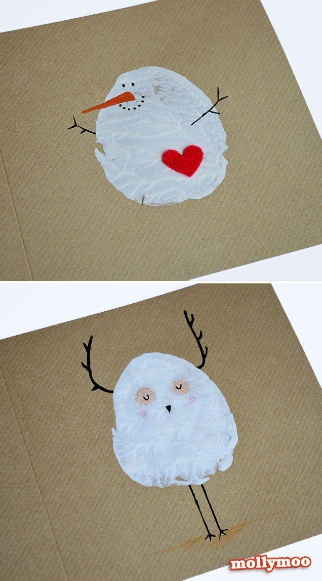DIY Christmas Cards - potato printed snowman