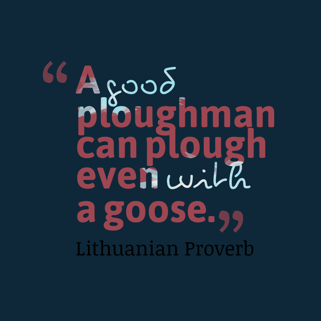 A good ploughman can plough even with a goose. - Lithuanian proverb  https://www.inspiringquotes.us/pic… | Proverbs, Inspirational quotes  motivation, Proverbs quotes