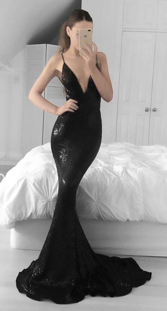 Black Mermaid Deep V-neck Sweep Train Sequined Prom Dress | Fashion ...