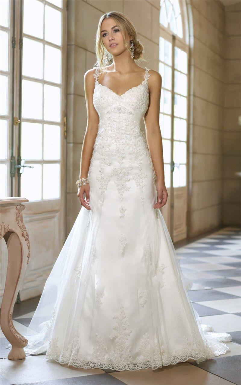 New white wedding dresses spaghetti strap lace applique bridal gowns