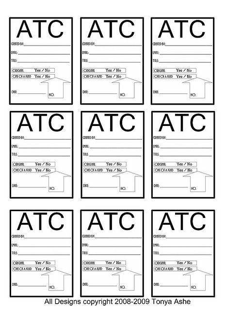 ATC Back Design Sheet No5 Artist trading cards, Atc cards and - trading card template