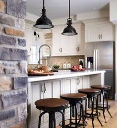 Exposed wall similar to new kitchen. Industrial feel is key but less 'shiny' and pristine than this