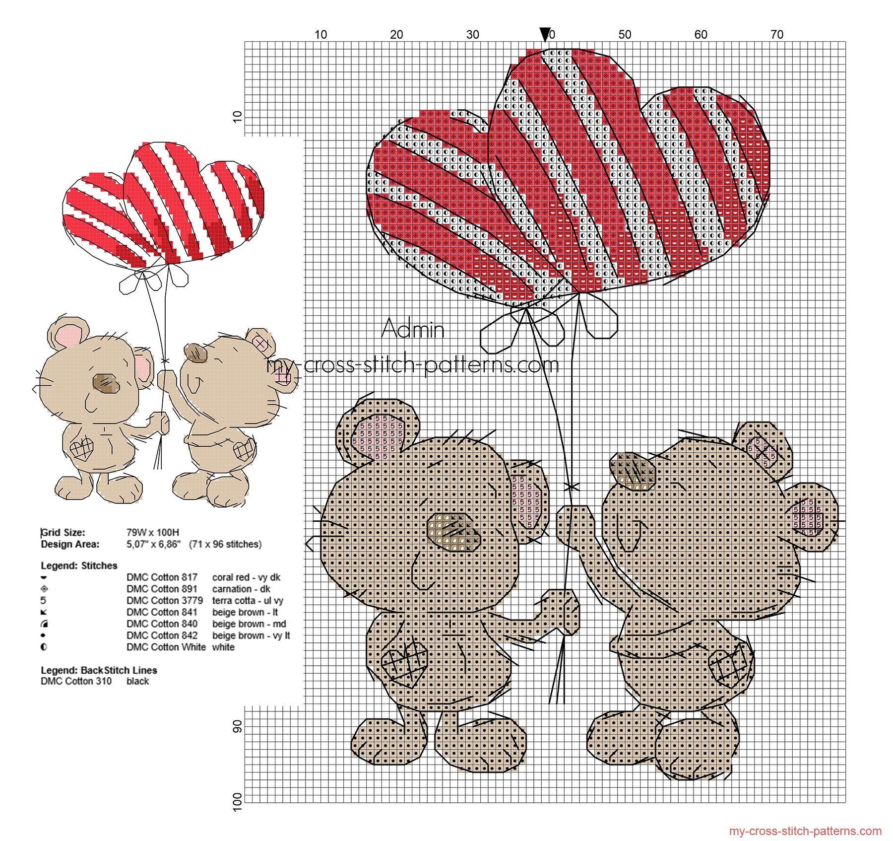 Teddy bears in love free cross stitch pattern