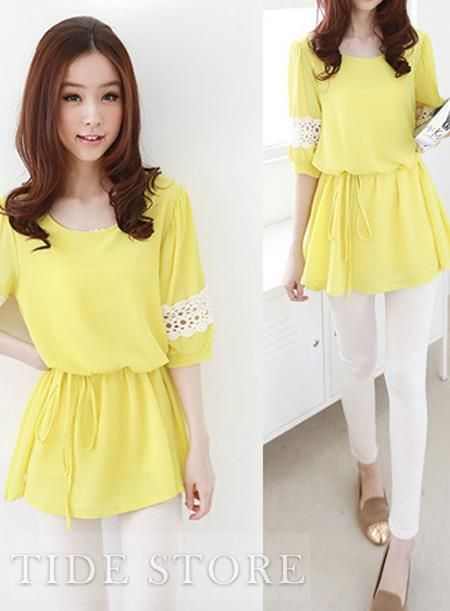 US$22.99 Sweet Candy Color Short Sleeves Chiffon Lace Blouse. #Blouses #Sweet #Candy #Short