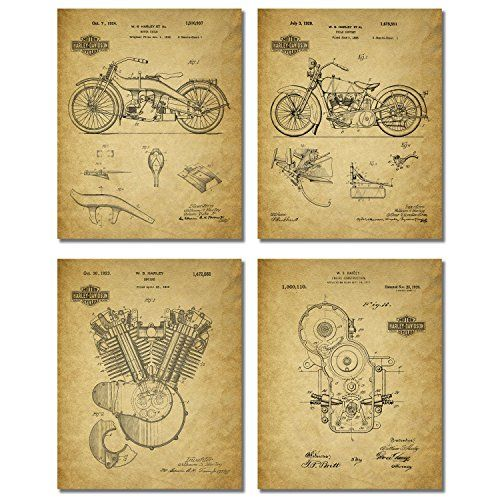 Harley Davidson Patent Wall Art Prints Set of Four Photos * Find out ...