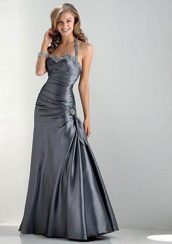 Glamorous Sheath Halter Floor-length Bow Dress $242.99 Long Prom ...