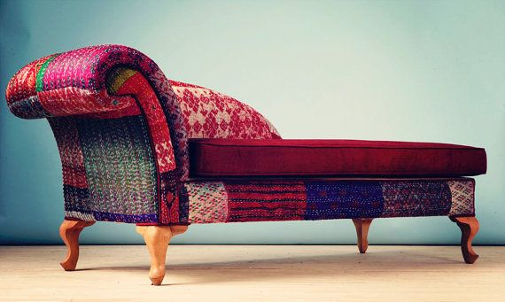 Brilliant Patchwork Chaise Lounge Indian Kantha Quilt Home Decor Ncnpc Chair Design For Home Ncnpcorg