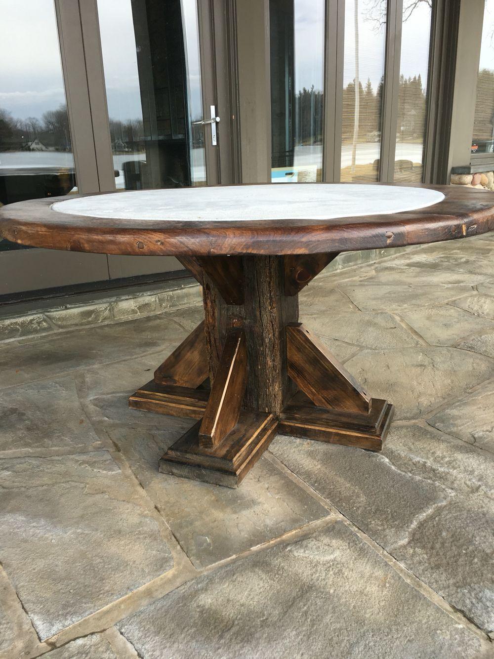 Farmhouse table rustic barn beam round concrete wooden ...