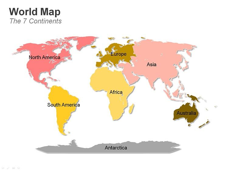 Editable PowerPoint Map: world Map - 7 Continents | Editable ...