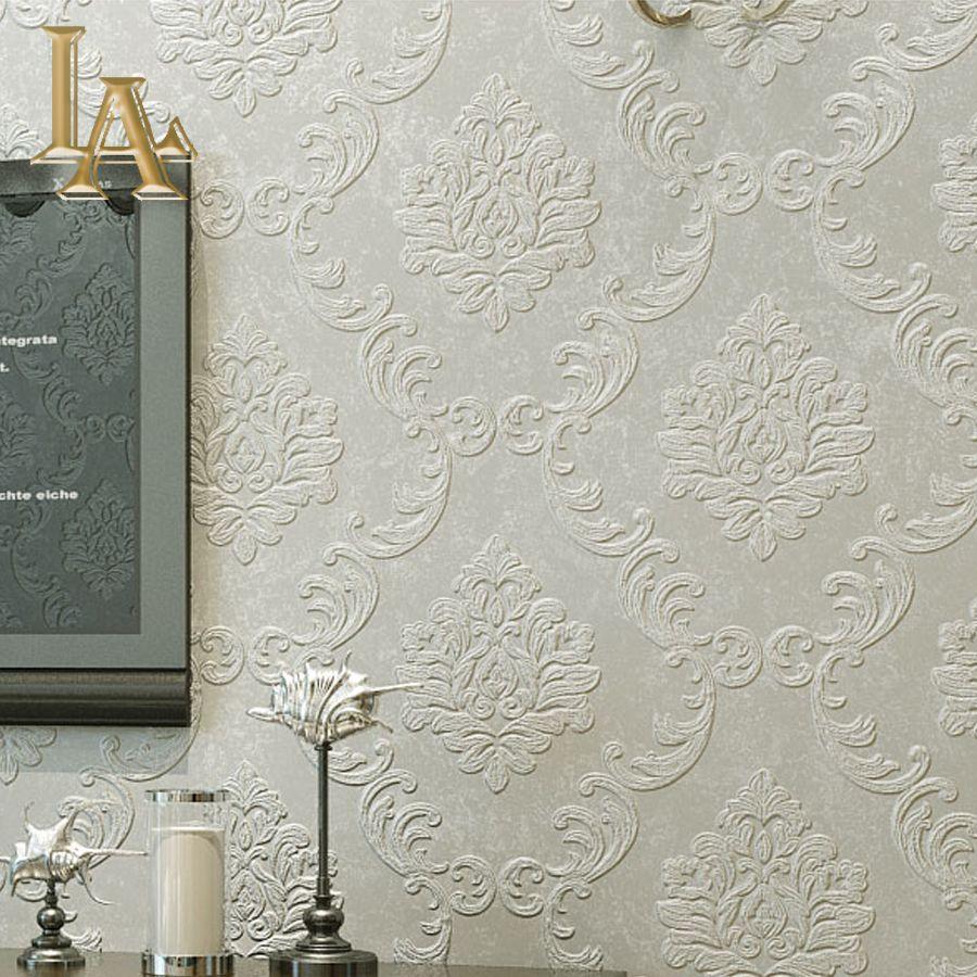 European Simple Luxury Beige Grey 3d Damask Wallpaper Living
