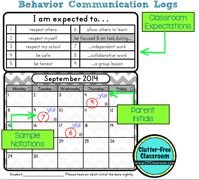 Behavior Management Supplement Packet For Clip Chart  Behavior