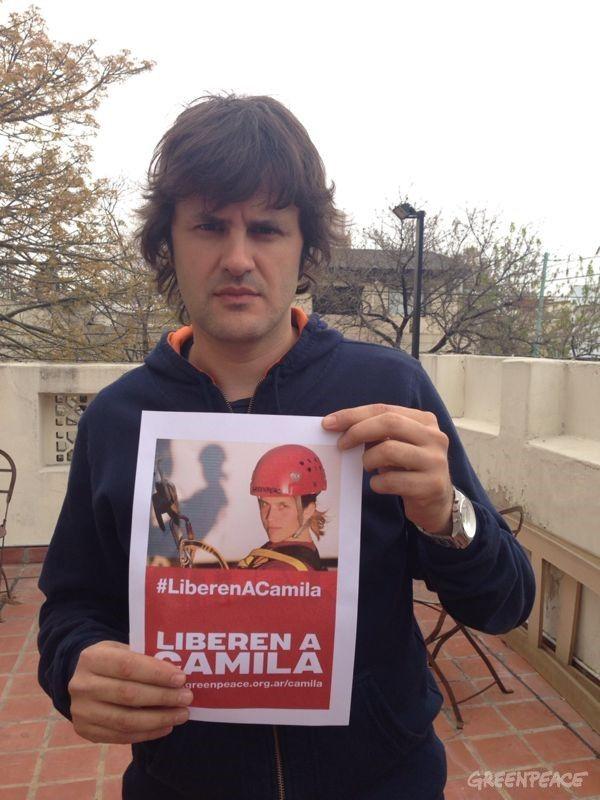 El músico Andrés Ciro Martínez también se sumó al pedido de liberación de los 30 detenidos en Rusia. © Greenpeace / Katz