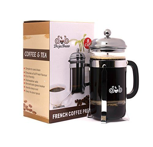 Dejabrew The Best French Press Coffee Maker And Tea Reinforced Gl With Stainless Steel Frame Pot 8 Cup 34 Ounce