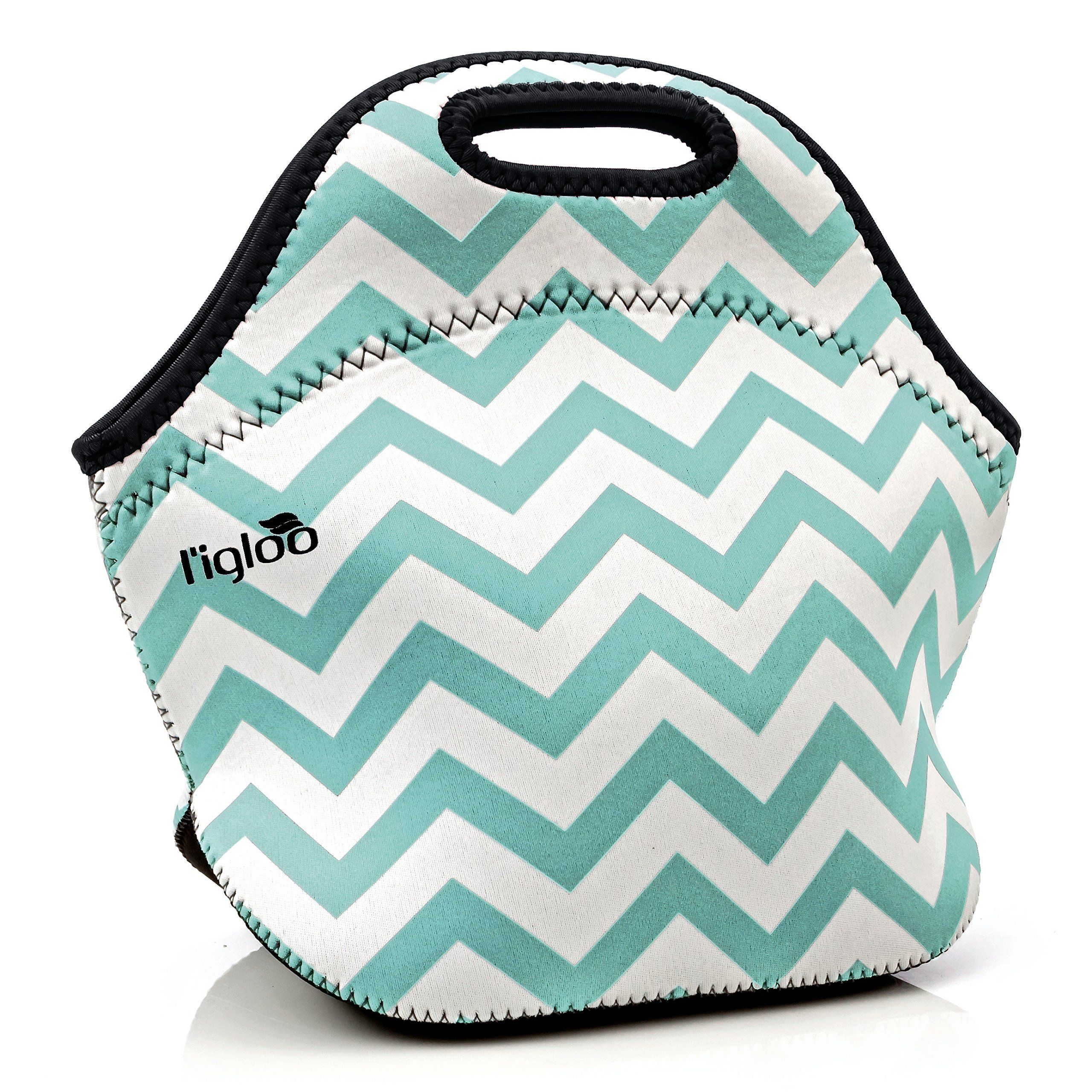 L Igloo Deluxe Neoprene Insulated Lunch Bag Extra Thick Box Tote Heavy Duty Zipper