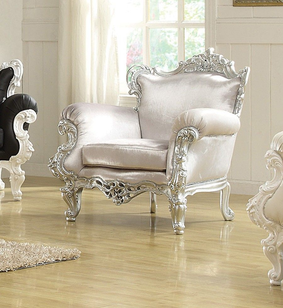 Traditional accent chairs - The Silver Odessa French Victorian Style Accent Arm Chair 999 Victorian French