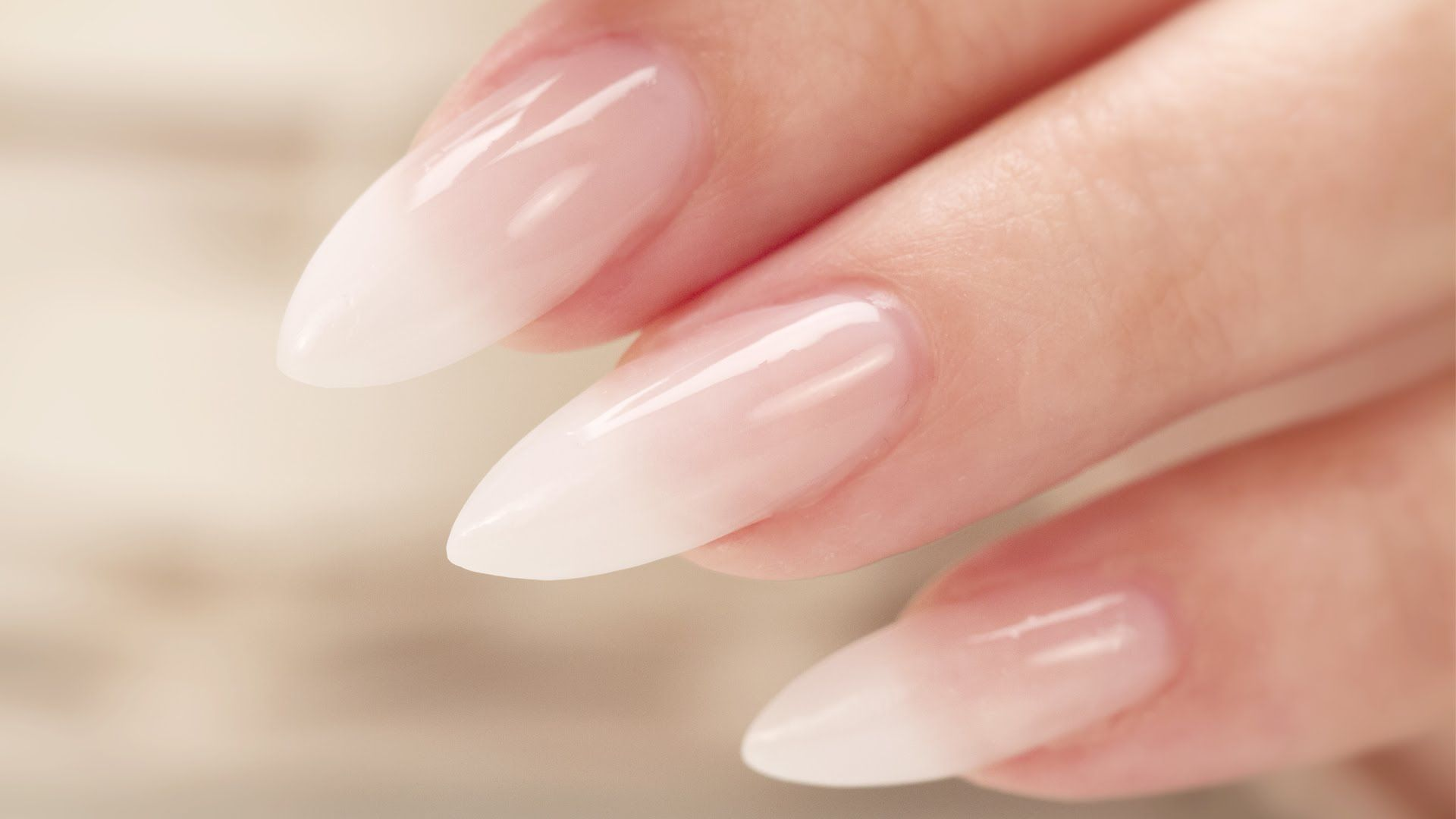 French Fade Baby Boomer Almond Acrylic Nails – Three Color Fade ...