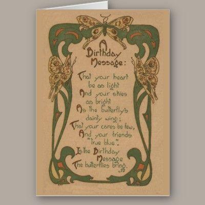 Vintage Birthday Card Art Nouveau Crafty Pinterest Vintage