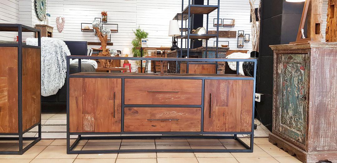 Table Basse Teck Et Metal Recycles Urban En 2020 Mobilier En Bois Decoration Maison