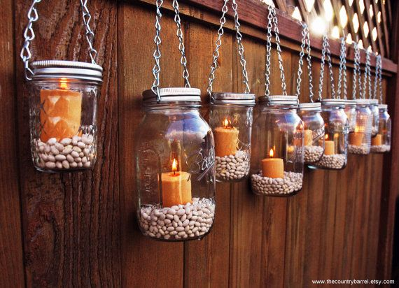 Mason Jar Lanterns Hanging Tea Light By TheCountryBarrel On Etsy, $60.00    I Can