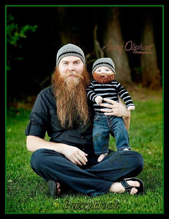 Crochet Beard Hat special fo BABY and DADDY custom by BuzzyHook ...