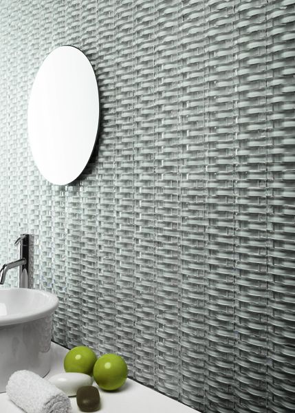 Wave 3D Glass Tile White Curved glass tile mesh mounted on a 12 x