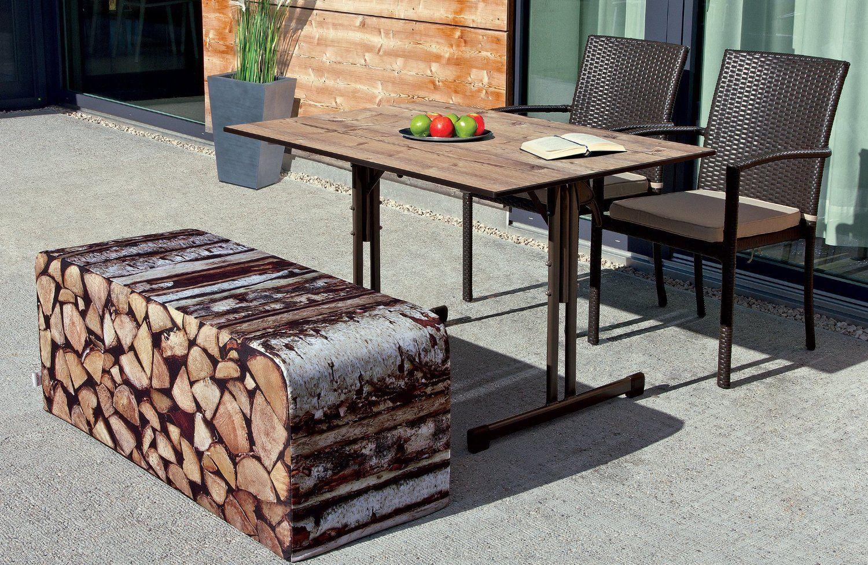 Gartenbank Holz Rustikal Outdoor Weicher Auflage   Gartenbank Design ...