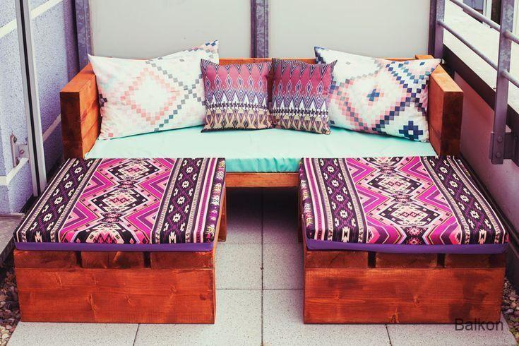 Balkon DIY Holzsofa Outdoor | Wooden sofa, Wood sofa ...