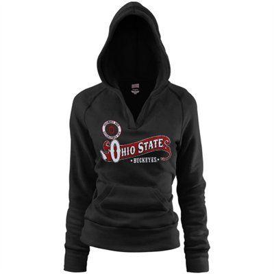 2680f0419a8 Ohio State Buckeyes Ladies Black Rugby Distressed Deep V-neck Hoodie  Sweatshirt
