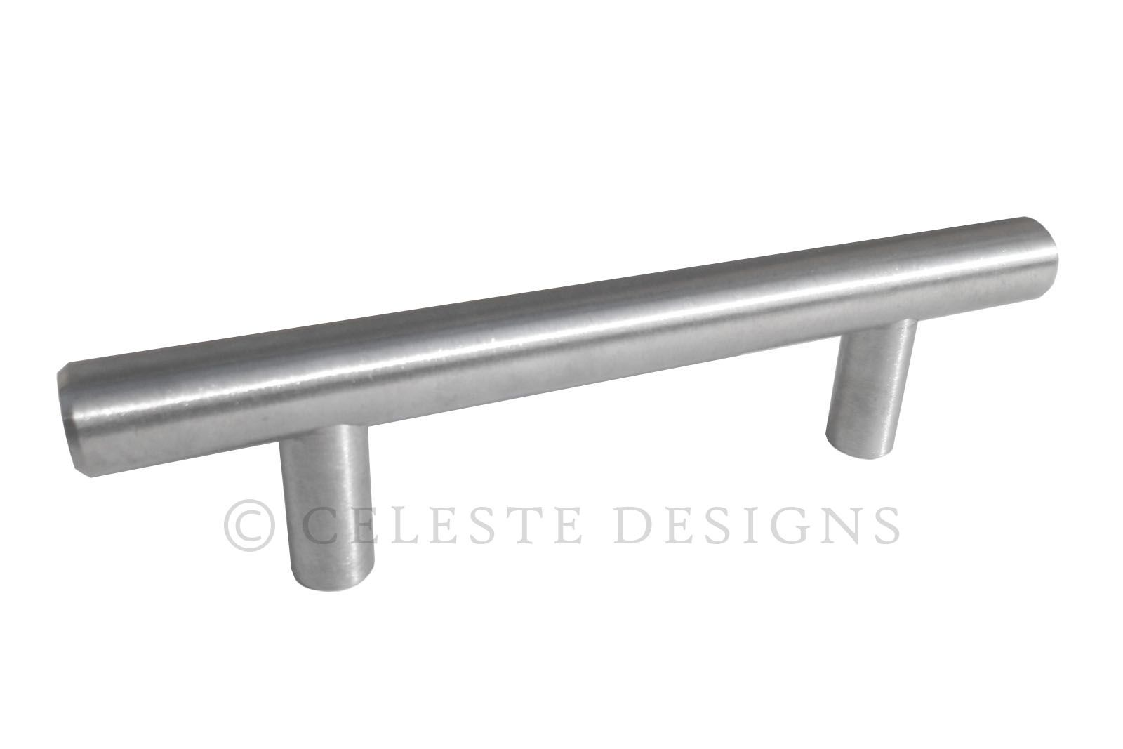 Bar Pulls Solid Stainless Steel Brushed Nickel Finish 12mm Choose Size