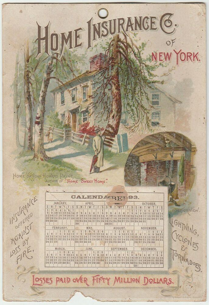 Original 1893 Victorian Calendar Advertising Home Insurance Co