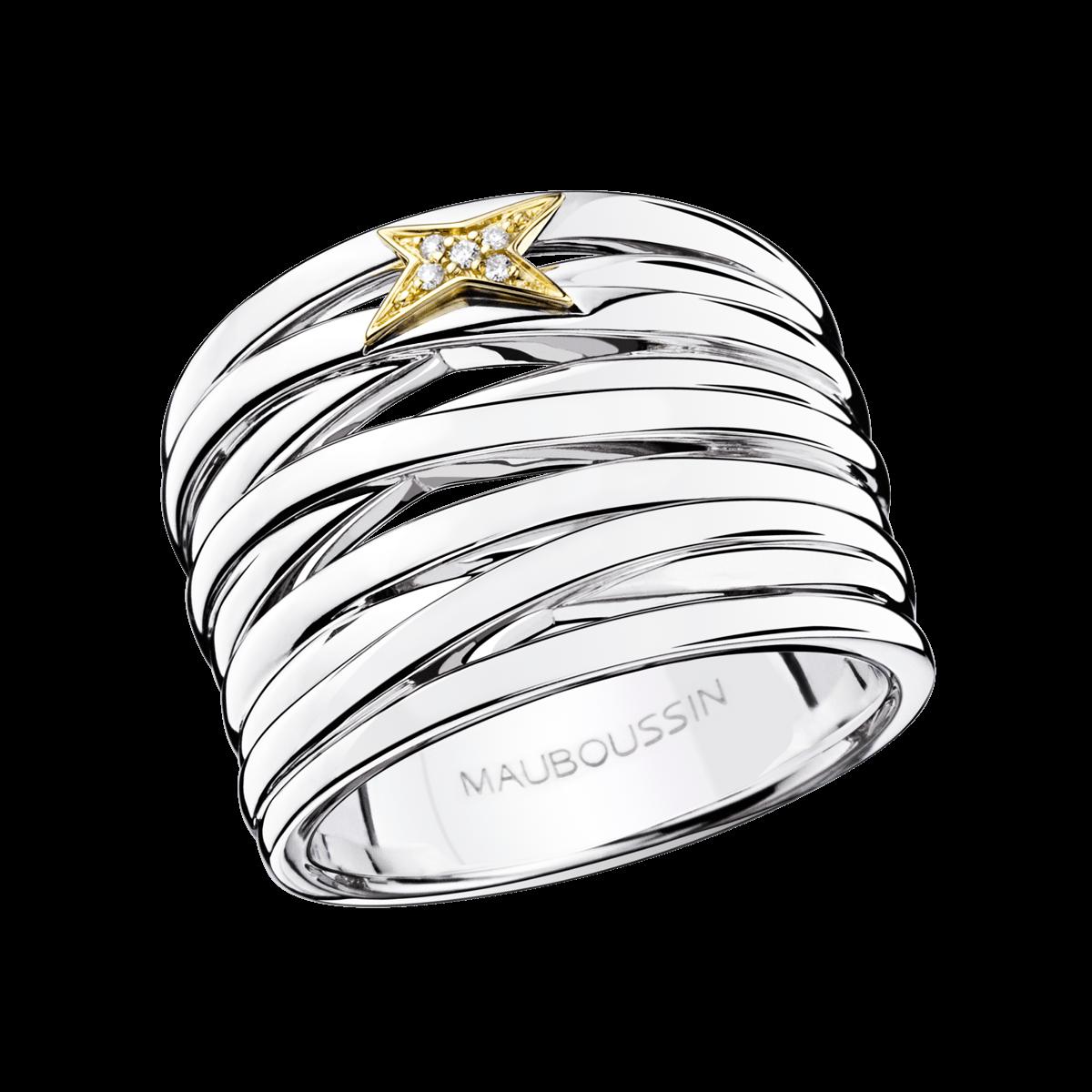 Exceptionnel Bague Kiff & Kiss, argent, or jaune et diamants - Mauboussin  PD17