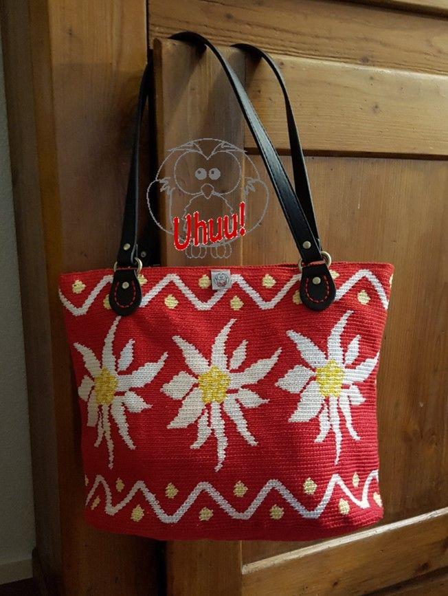 Tasche Edelweiss Handtasche Motiv Folklore Alpin Häkeln