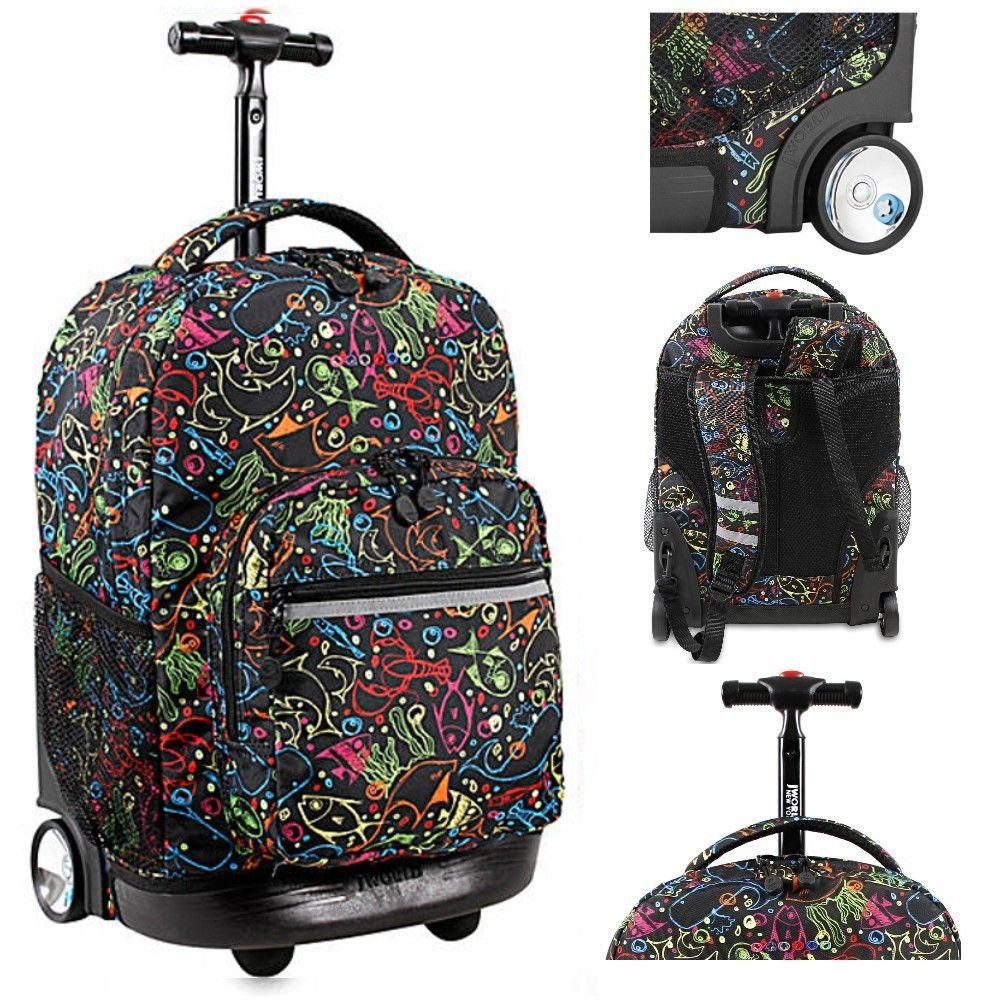 Brand New S School Backpack Rolling Book Bag Wheeled Telescoping Dolphin Back Pack College Backpacks