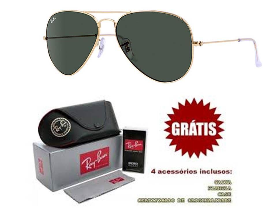 46c1a50c3adbb Oculos de sol Ray ban aviador preto e dourado replica primeira linha  perfeita direto da 25