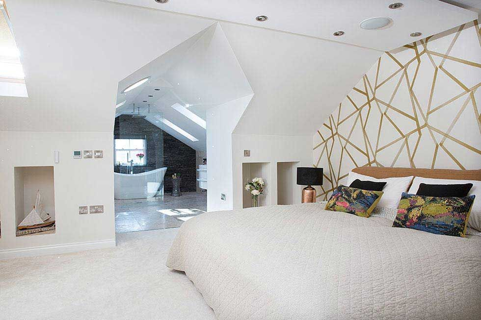 White Geometric Bedroom Bathroom Loft Conversion Living Room Loft Bedroom Layouts Loft Style Bedroom