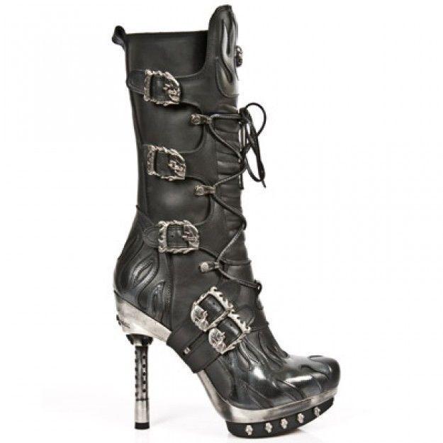New Rock New Rock 107-S2 Silver Skull Devil Black Leather Biker Goth Rock Boots