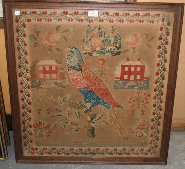 Victorian Needlework Sampler, Worked By Mary Crampton