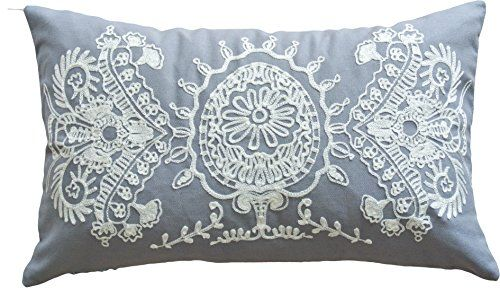 """Designer's Special Pattern Embroidery Decorative Throw Pillow COVER 20x12"""" Grey White Blue Dolphin http://www.amazon.com/dp/B00PE17OR2/ref=cm_sw_r_pi_dp_h5LAvb12Y2E9Y"""