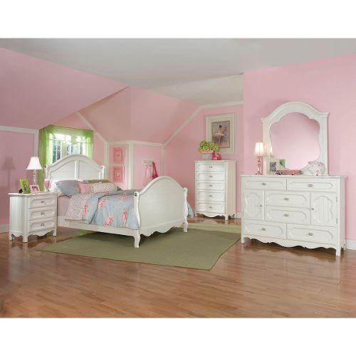 White Classic 3 Piece Full Bedroom Set Adrian Twin Bedroom
