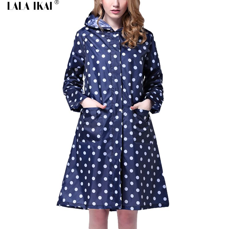 Waterproof Raincoats Woman White Dots Foldable Hood Long Pattern ...