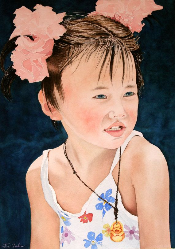 China Doll Original Watercolor On Arches 300 Lb Cold Press By Jim