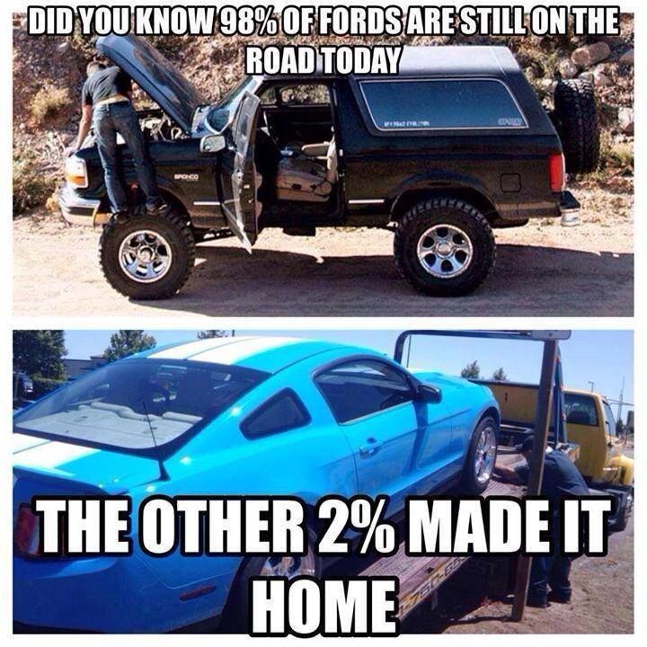 98 Of Fords Are Still On The Road Today Ford Humor Chevy Jokes