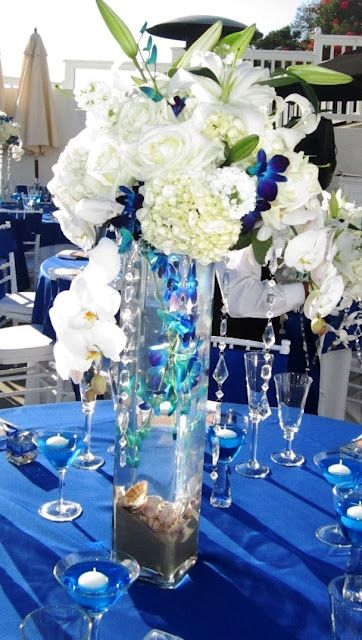 Blue Reception Wedding Flowers Decor Flower Centerpiece Arrangement Add Pic Source On Comment And We Will Update It
